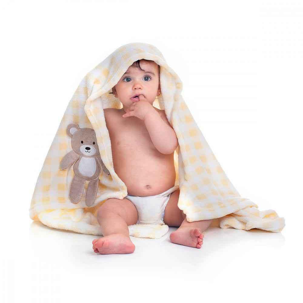Manta Soft para Bebê Loani Ursinho Xadrez Amarelo