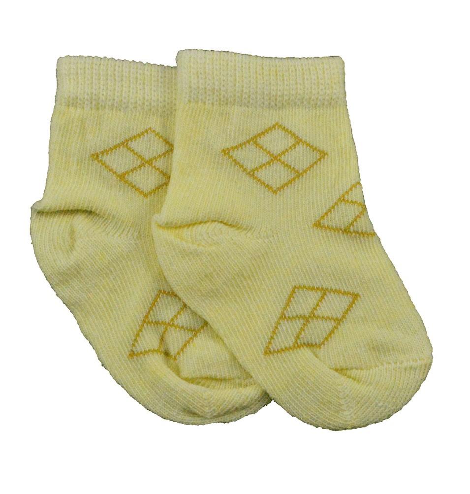 Meia de Bebê Amarela Estampadas Sortidas 0 a 3 Meses