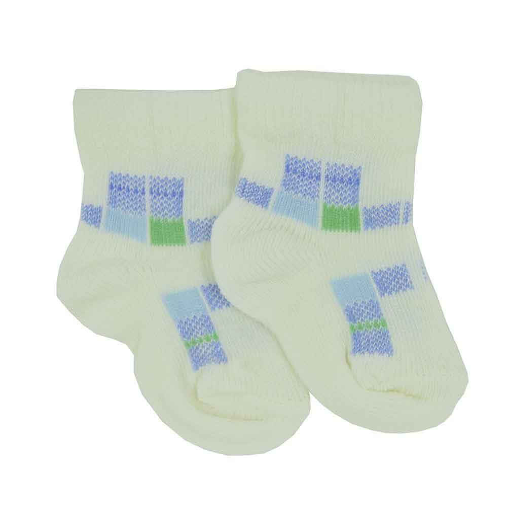Meia de Bebê Bege c/ Azul Estampadas Sortidas 0 a 3 Meses