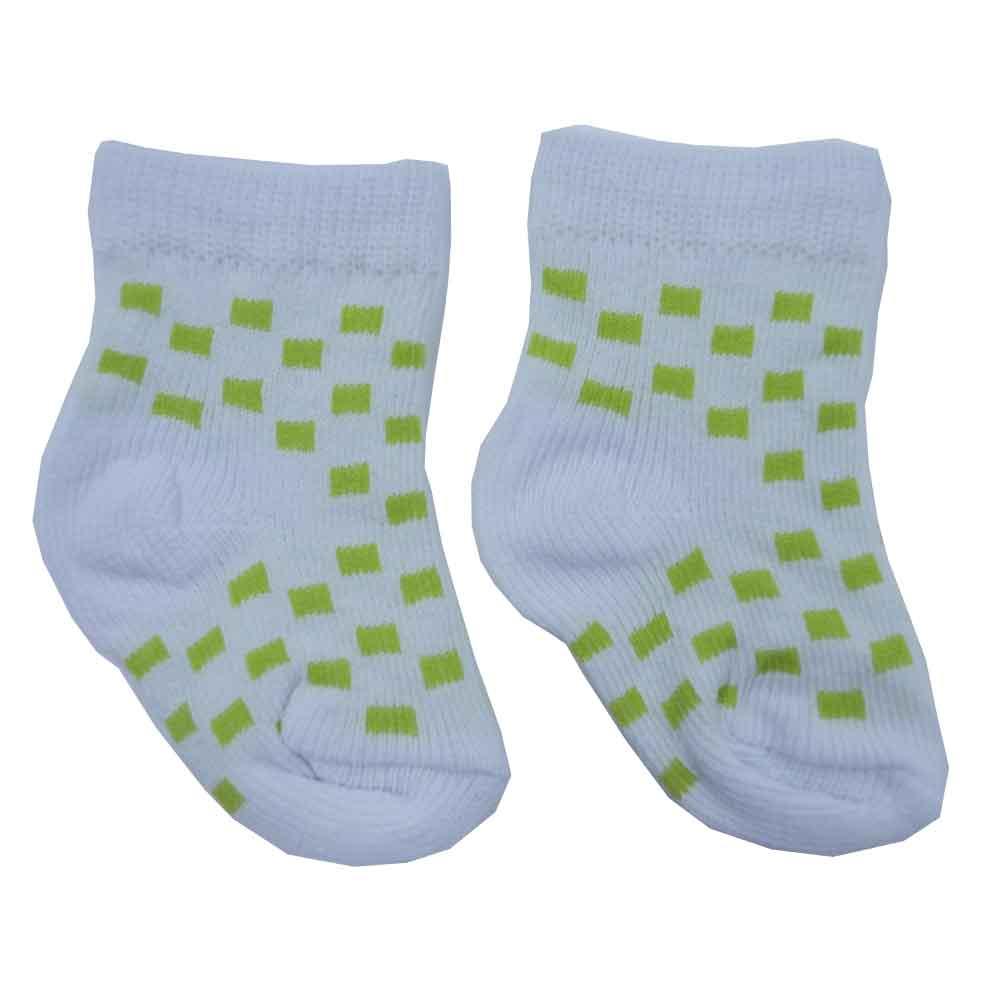 Meia de Bebê Branco c/ Verde Estampada Sortidas 0 a 3 Meses