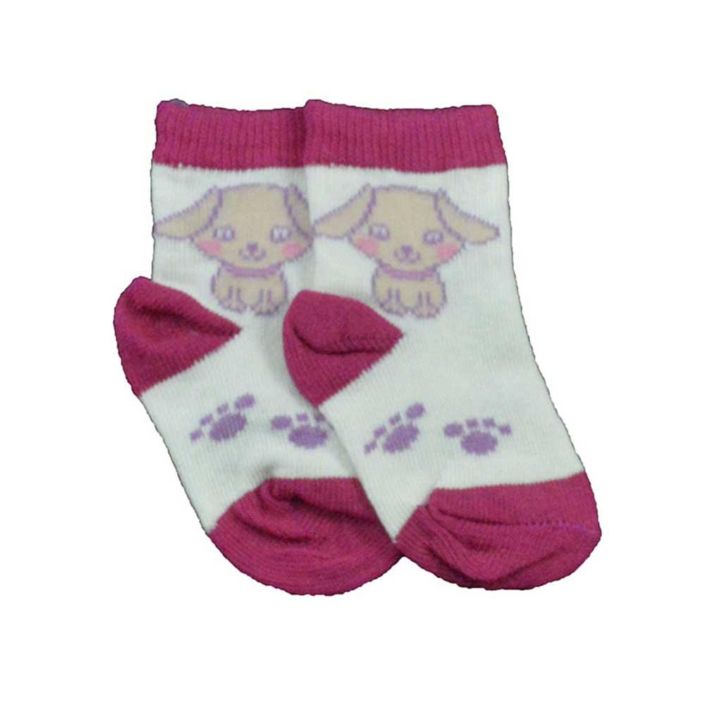 Meia de Bebê Branco com Rosa Estampada Sortidas 16 a 18