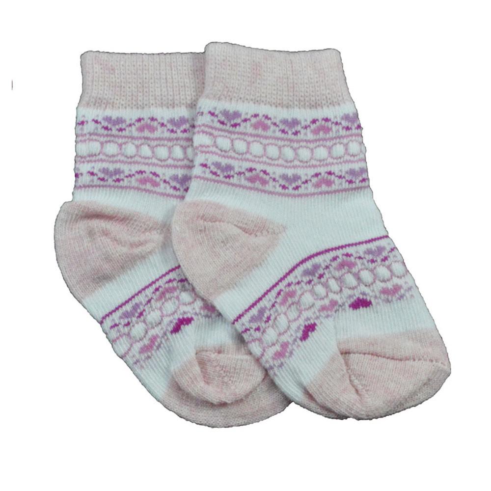 Meia de Bebê Rosa C/ Branco Estampadas Sortidas 16 a 18