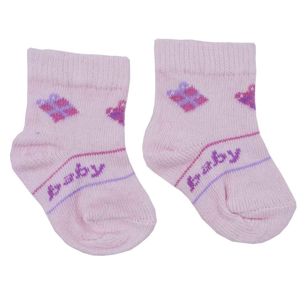 Meia de Bebê Rosa Estampas Sortidas 0 a 3 meses