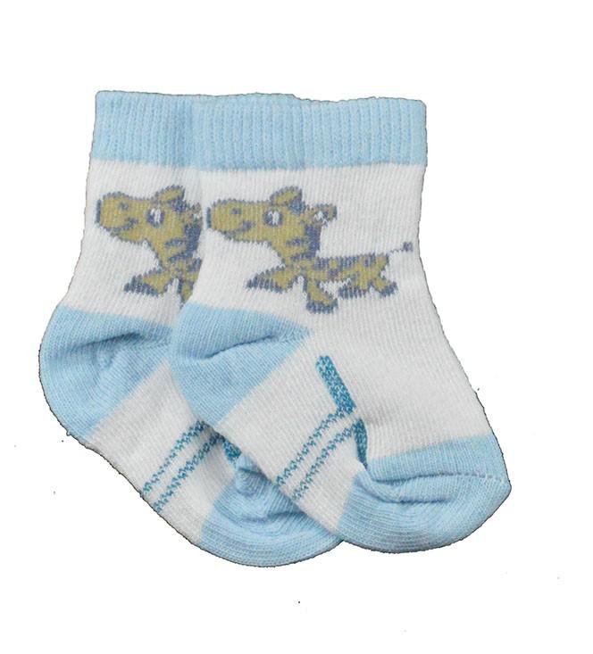 Meia de Bebê Azul com Branco Estampadas Sortidas Calçado 16 a 18