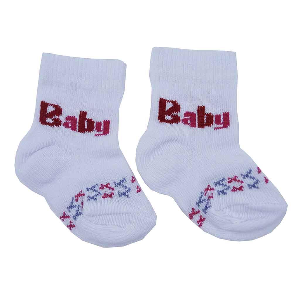 Meia de Bebê Branco c/ Rosa Estampadas Sortidas 0 a 3 Meses