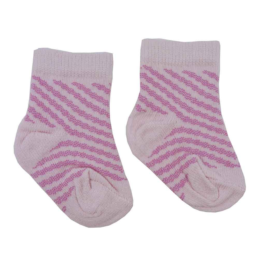 Meia de Bebê Rosa Estampadas Sortidas 0 a 3 Meses