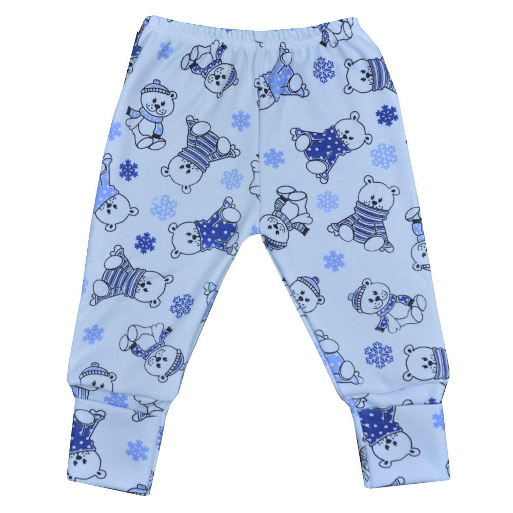 Mijão (Culote) Bebê Virá Pé Ursinho Azul RN/P/M/G/GG