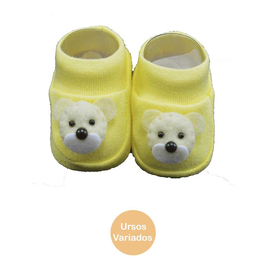 Pantufa de Bebê Bottini Amarelo Urso