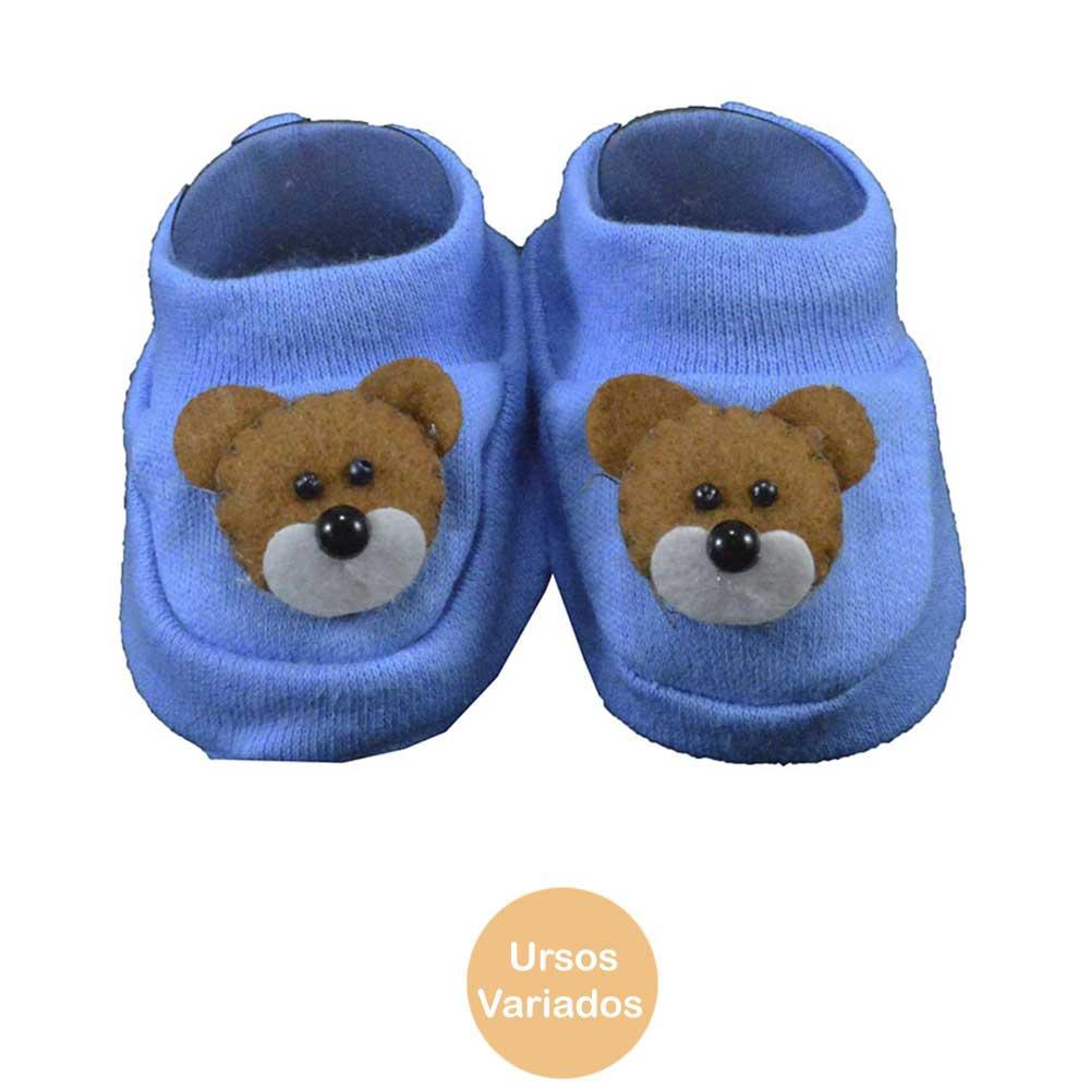 Pantufa de Bebê Bottini Azul Urso