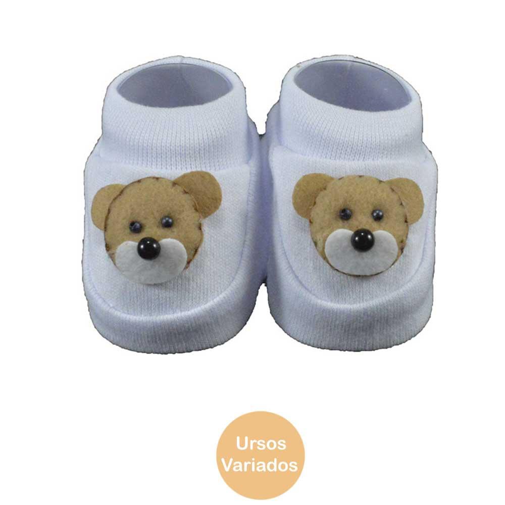 Pantufa de Bebê Bottini Branco Urso