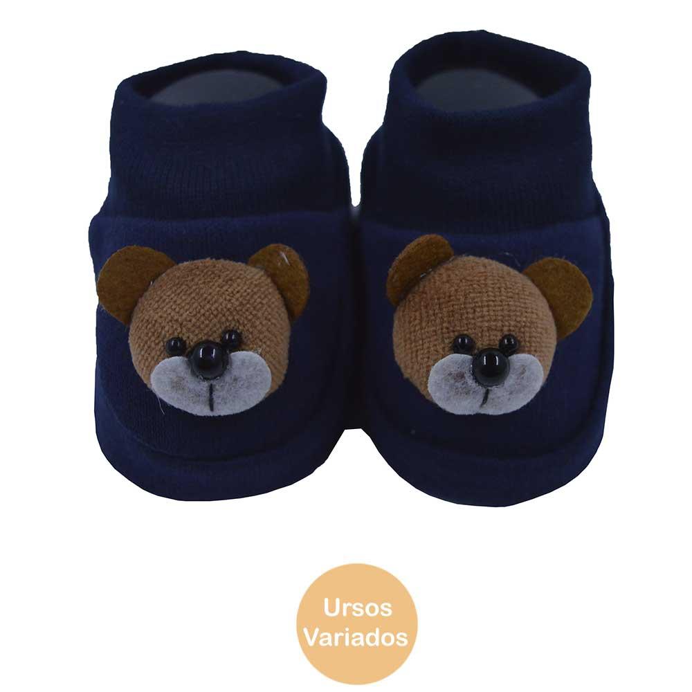 Pantufa de Bebê Bottini Urso Azul Marinho