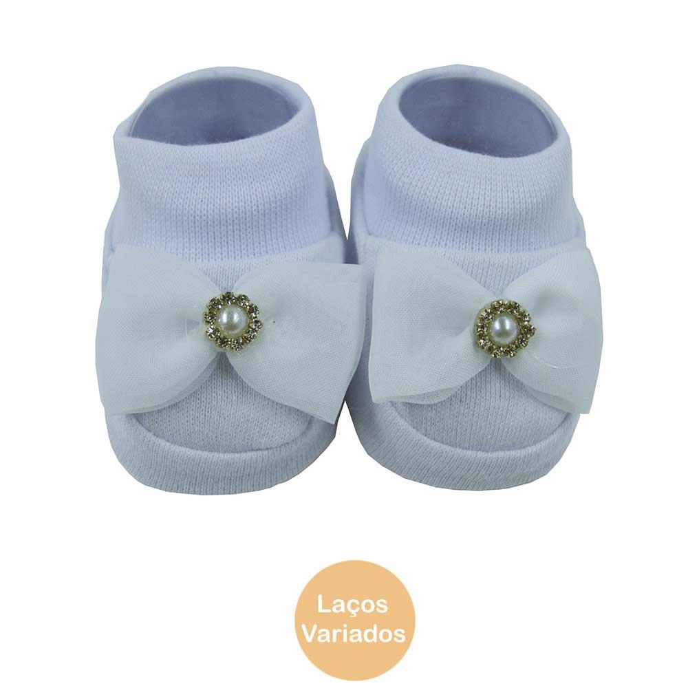 Pantufa de Bebê Bottini Branca Laços Variados