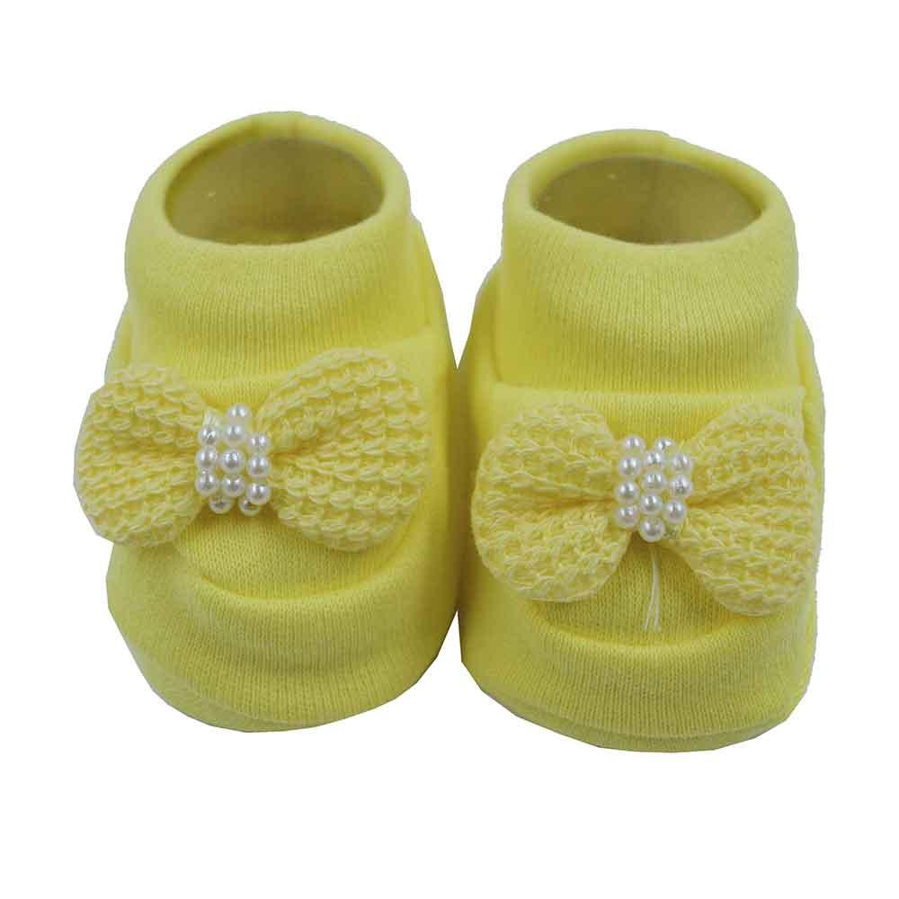 Pantufa de Bebê Nand Amarelo  Laço