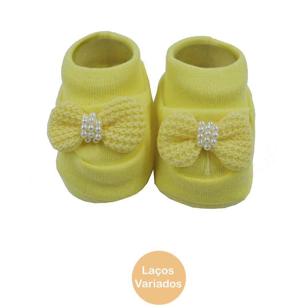 Pantufa de Bebê Bottini Amarelo Laços Variados