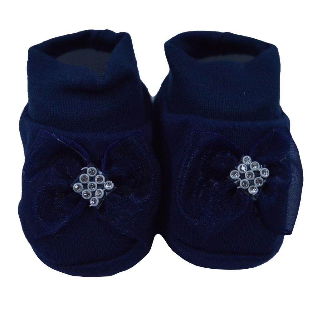 Pantufa de Bebê Nand Azul Marinho Laço