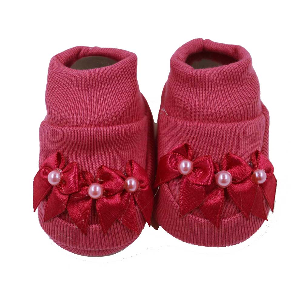 Pantufa de Bebê Nand Rosa Chicletes Laços