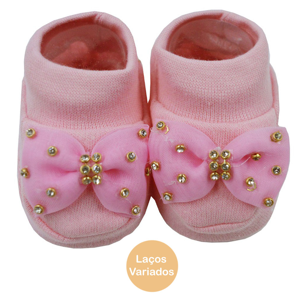 Pantufa de Bebê Bottini Rosa Laços Variados