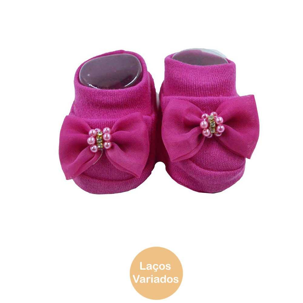 Pantufa de Bebê Bottini Rosa Pink Laços Variados