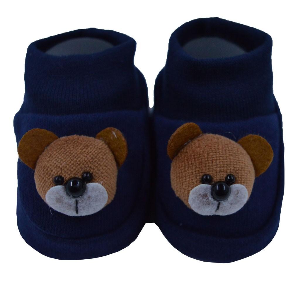 Pantufa de Bebê Nand Urso Azul Marinho