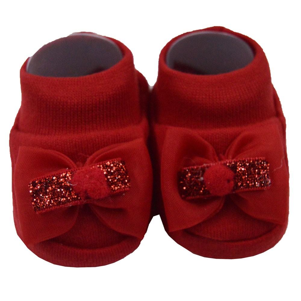 Pantufa de Bebê Bottini Vermelho Laços Variados