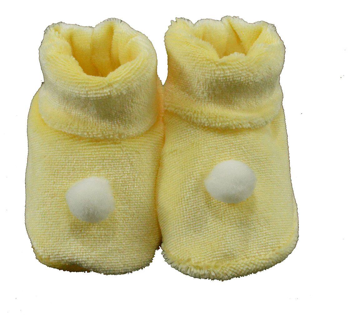 Pantufa de Bebê Plush Amarelo Bolinha Unissex