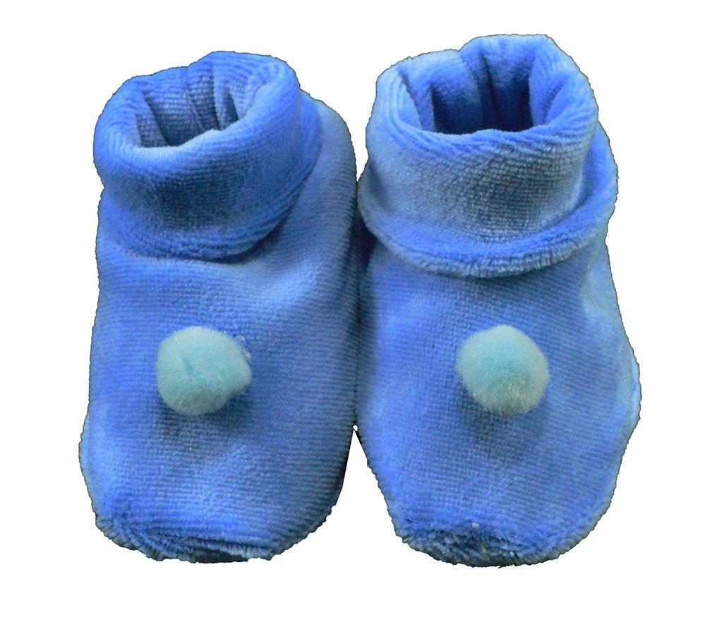 Pantufa de Bebê Plush Azul Bolinha