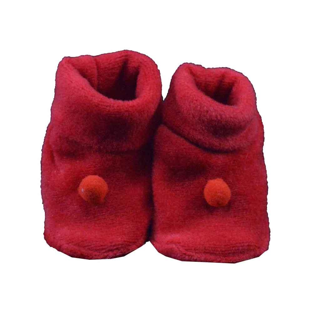 Pantufa de Bebê Plush Bolinha Vermelho