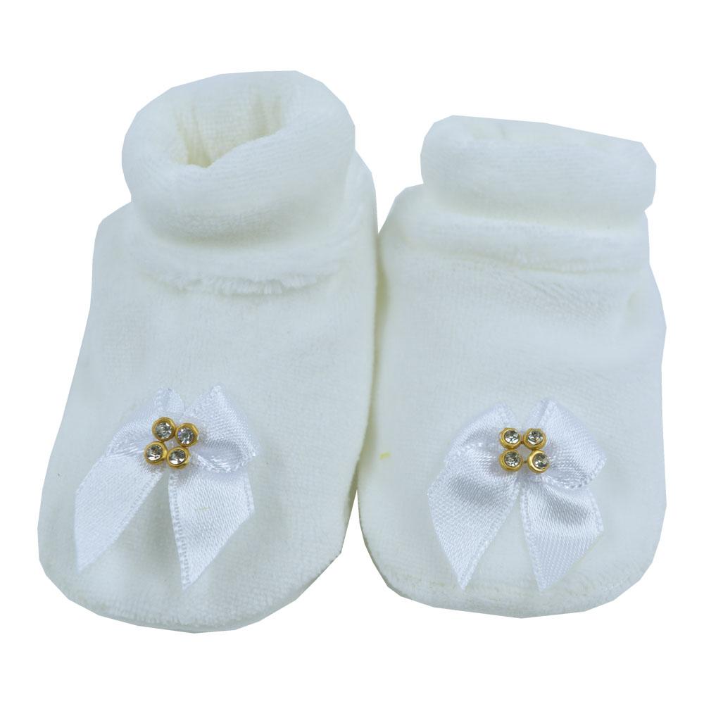 Pantufa de Bebê Plush Branco Laço