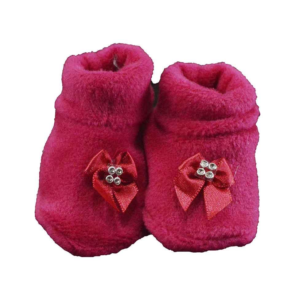 Pantufa de Bebê Plush Rosa Pink Laço