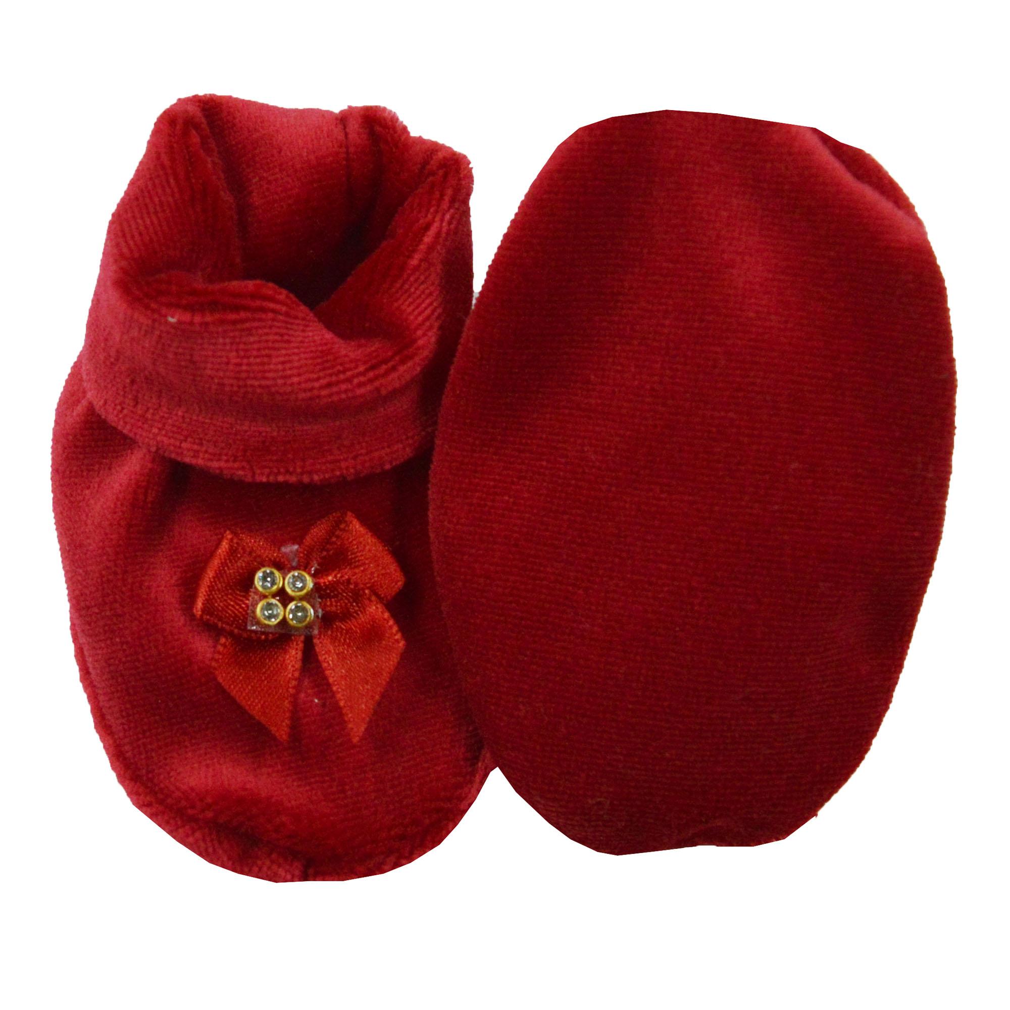 Pantufa de Bebê Plush Vermelho Laço