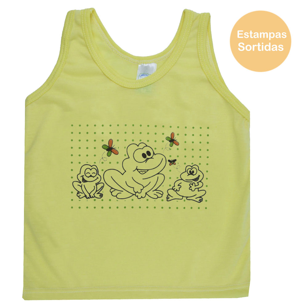 Regata de Bebê Amarela Masculina Estampas Sortidas (P/M/G)
