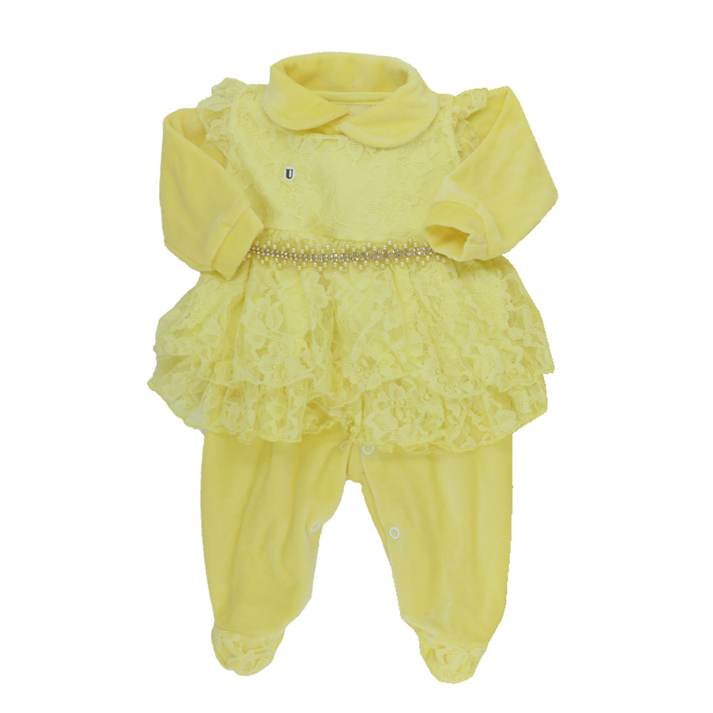 Saída Maternidade Plush Amarela Djiele ref.2232