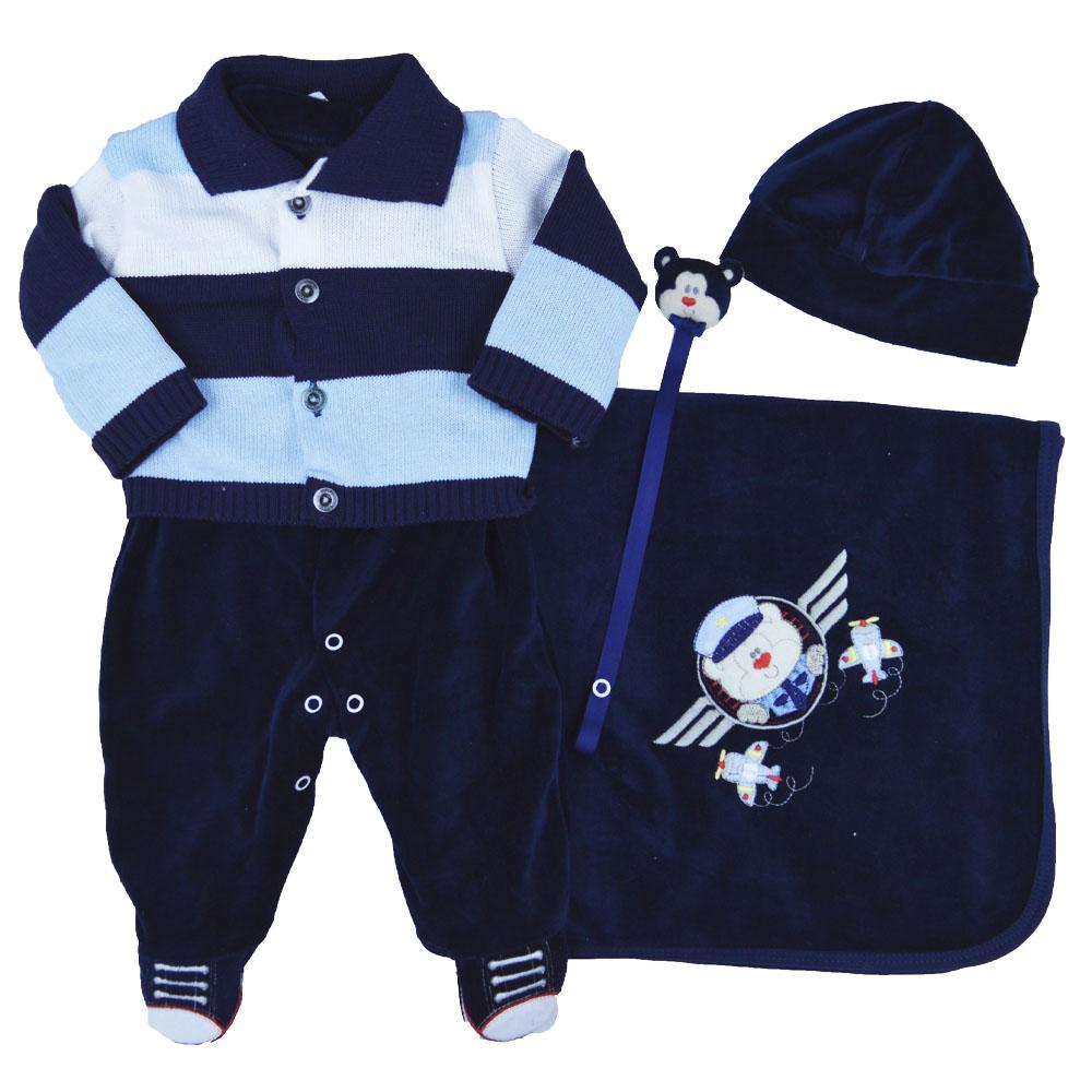 Saída Maternidade Plush Azul Marinho Djiele ref.2237