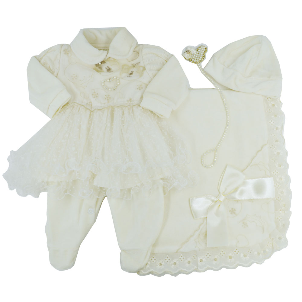 Saída Maternidade Plush Marfim Djiele ref.2228