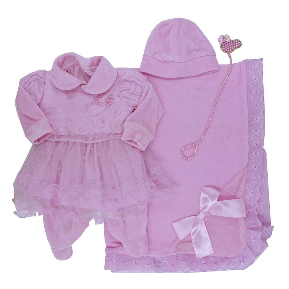 Saída Maternidade Plush Rosa Djiele ref.2228