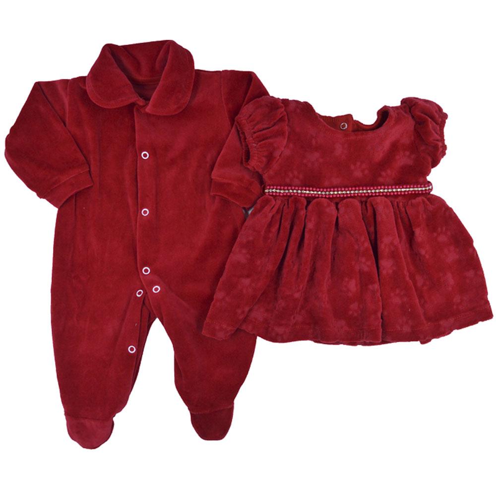 Saída Maternidade Plush Vermelha Djiele ref.2201
