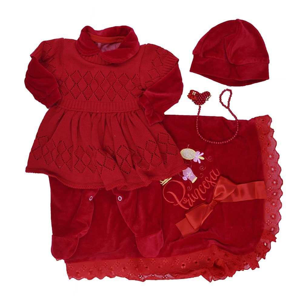 Saída Maternidade Plush Vermelha Djiele ref.2240