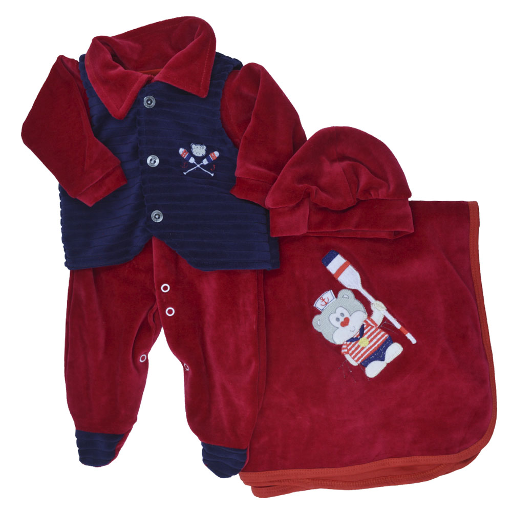 Saída Maternidade Plush Vermelho Djiele ref.2218