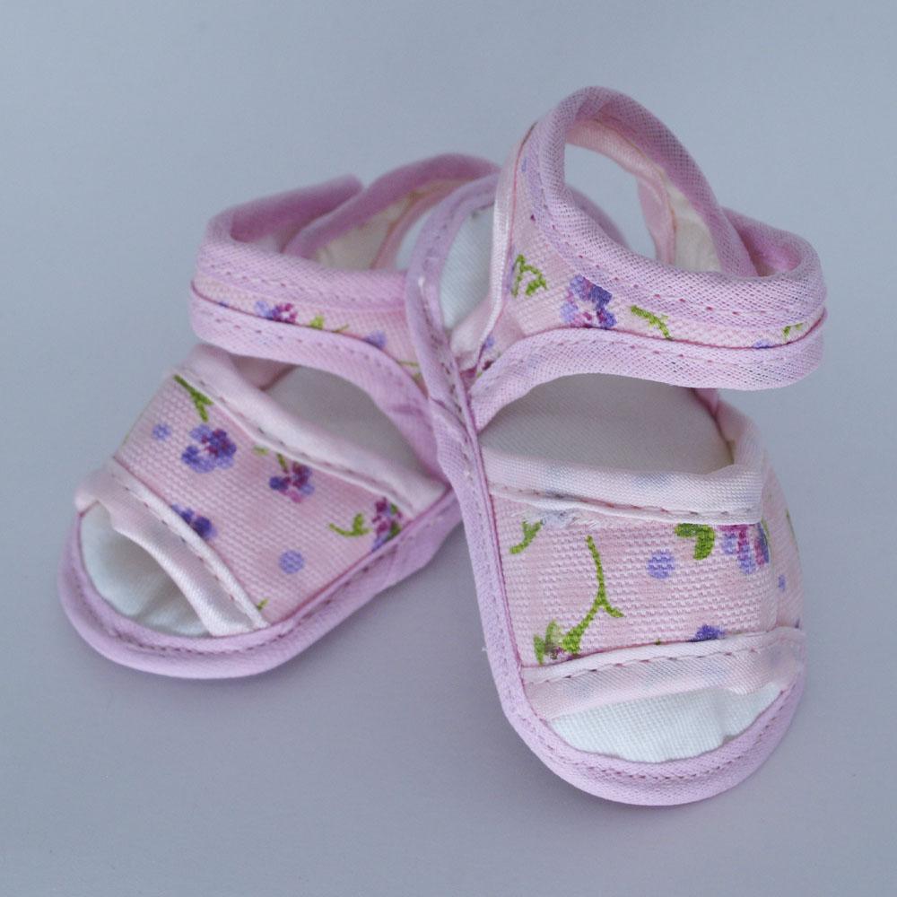 Sandália de Bebê Rosa Flores Solado de Pano (14/15/16/17)