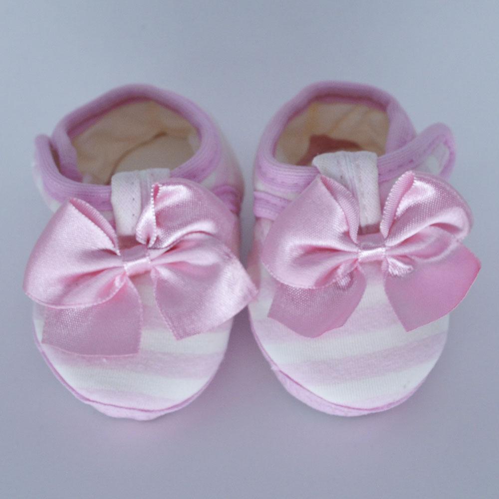 Sapatilha de Bebê Laço Rosa Solado de Pano (14/15)