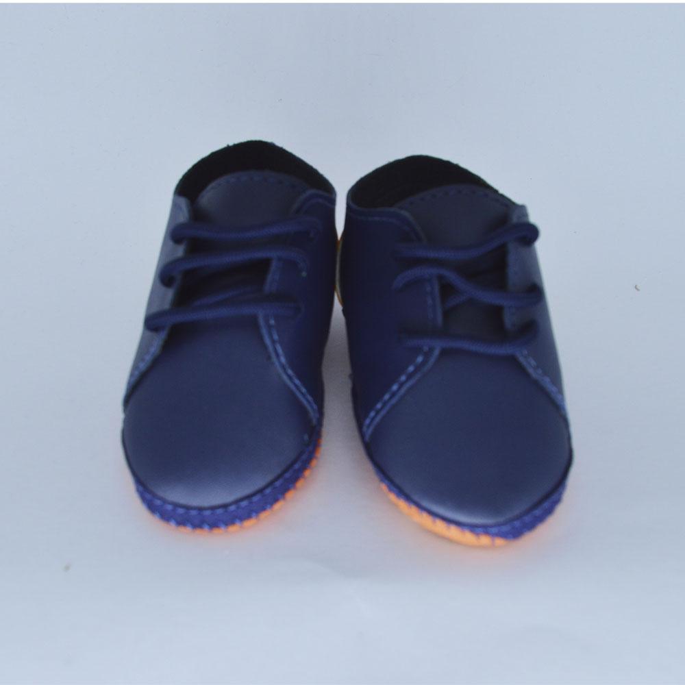 Sapato de Bebê Solado de Pano Azul Marinho c/ Laranja (14/15/16/17)