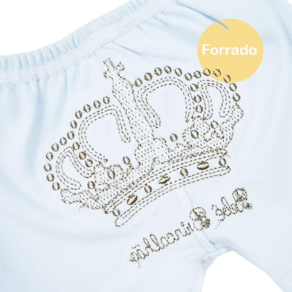 Short de Bebê Malha Bordado Coroa Rosa (P/M/G)