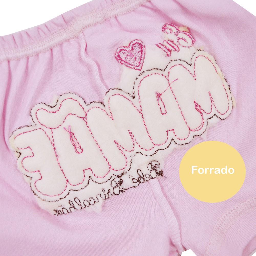 Short de Bebê Malha Bordado Eu Amo Mamãe Rosa (P/M/G)