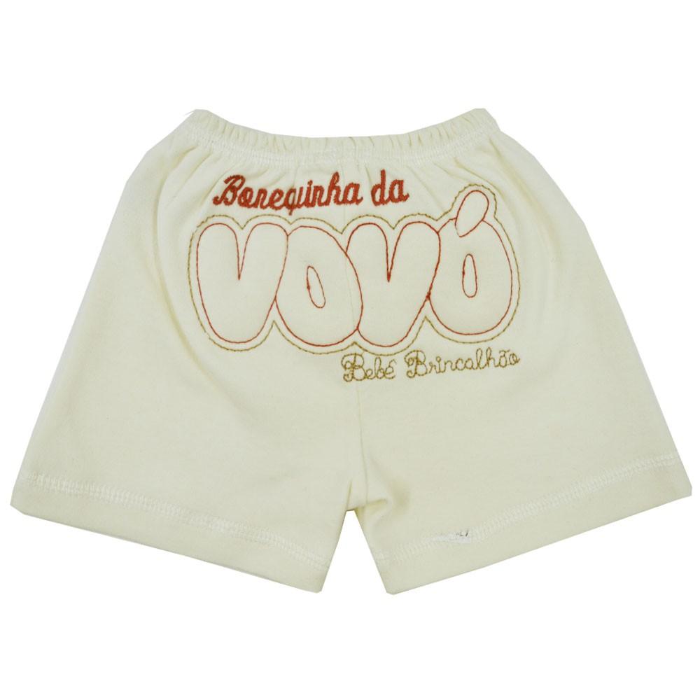 Short de Bebê Malha Bordado Bonequinha da Vovó (P/M/G)