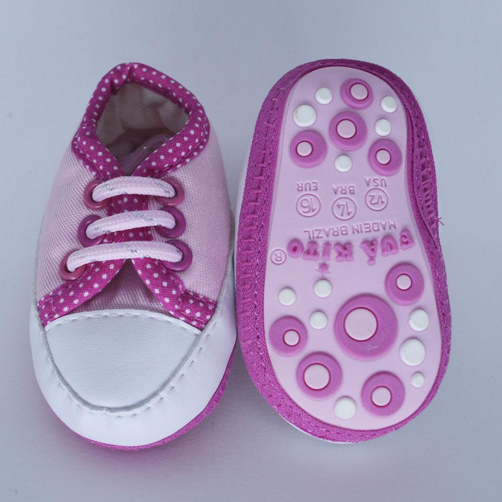 Tênis de Bebê Rosa Style Solado de Pano (14/15/16/17)