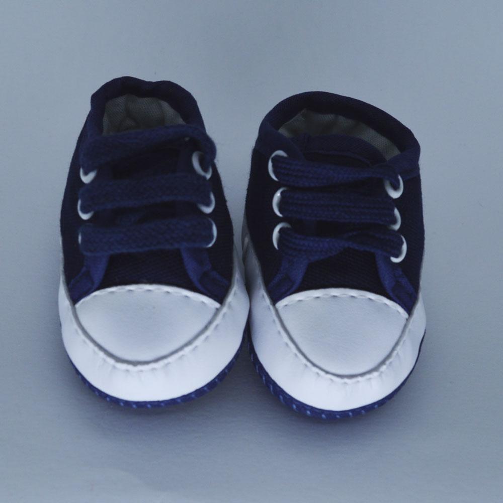 Tênis de Bebê Solado de Pano Azul Marinho Tecido (14/15/16/17)