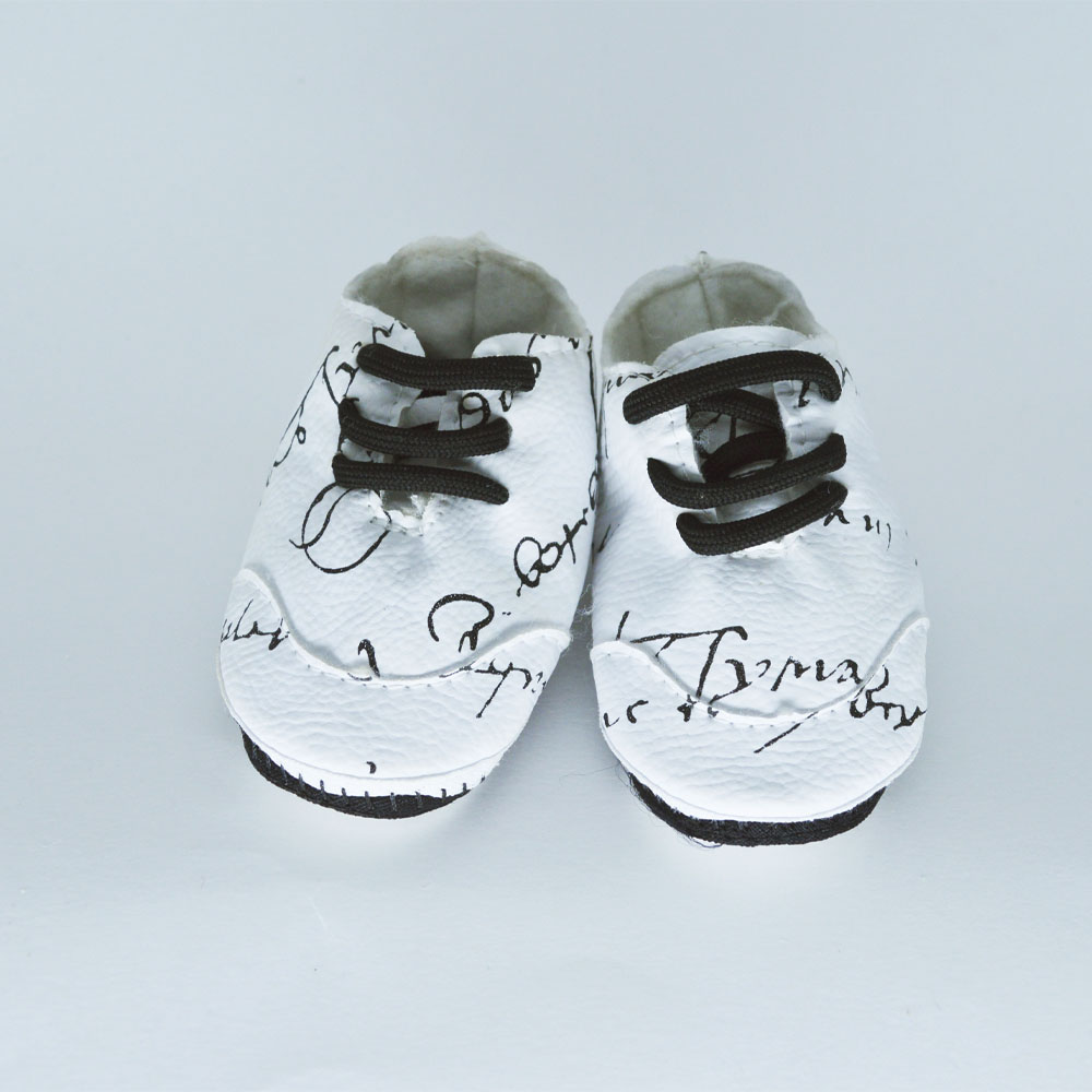Tênis de Bebê Solado de Pano Rabisco Branco (14/15/16/17)