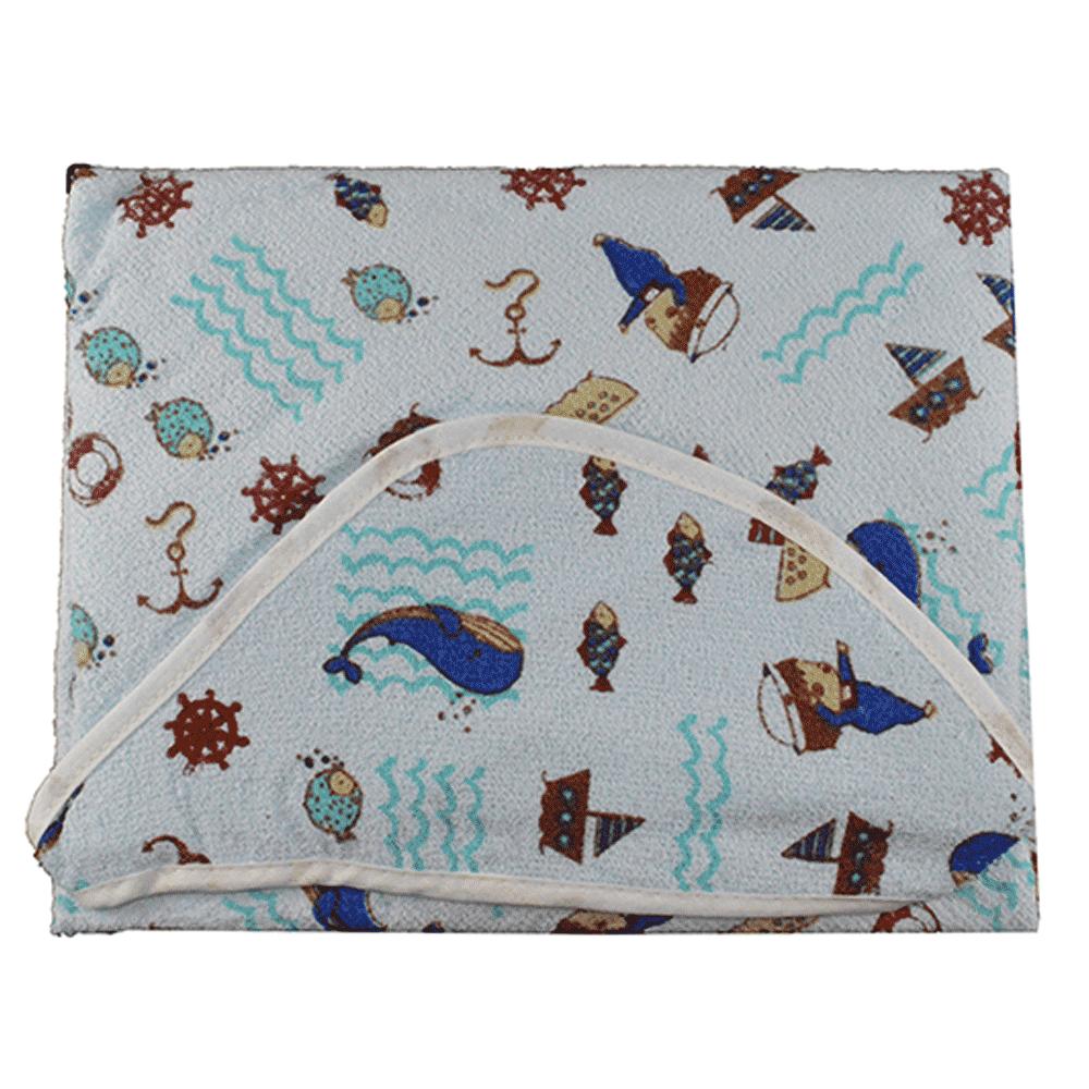 Toalha com Forro de Fralda e Capuz Papizinha Baleia Azul (70cm x 70cm)