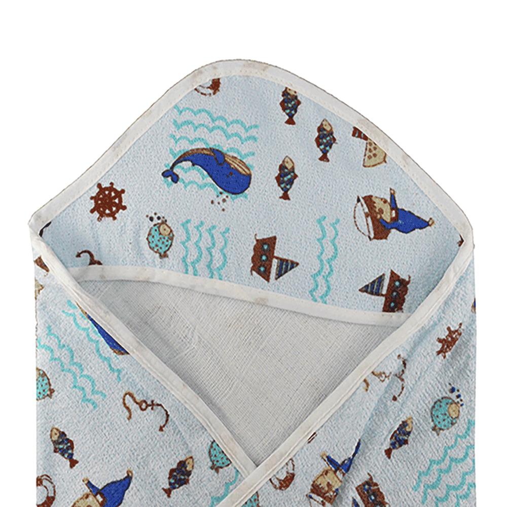 Toalha Felpuda com Capuz e Forro Bebê Papizinha Baleia Azul (70cm x 70cm)