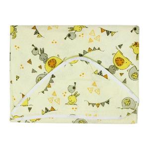 Toalha com Forro de Fralda e Capuz Papizinha Passarinho Amarelo (70cmx70cm)